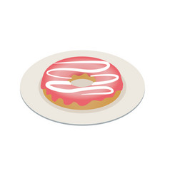 One vanilla glazed donut pastry topping isometric vector