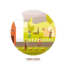 organic farm products label design harvest vector image