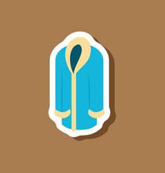 paper sticker fashion clothes fur coat vector image