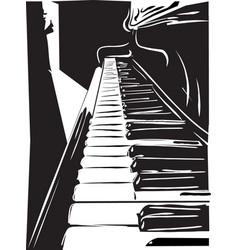 Piano black and white vector