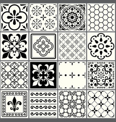 Portuguese tiles pattern lisbon seamless black vector