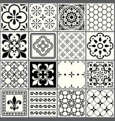 Portuguese tiles pattern lisbon seamless black vector