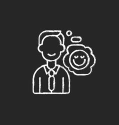Positive attitude chalk white icon on black vector