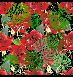 red roses seamless pattern floral vector image