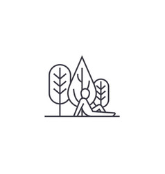 Rest in woods line icon sign vector