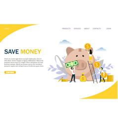 Save money website landing page design vector