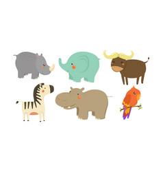 Set african animals adorable cartoon vector