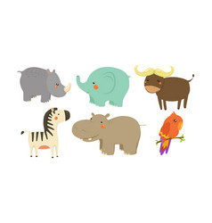 set of african animals adorable cartoon vector image