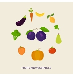 Set of fresh healthy vegetables and fruits made in vector image