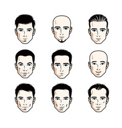 Set of men faces human heads different characters vector