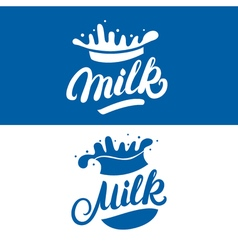 Set of milk hand written lettering logo label or vector
