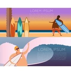 set surfer banners2 vector image