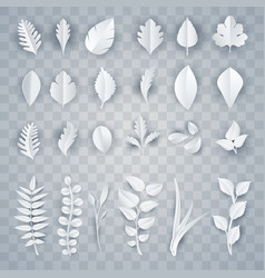 set white paper leaves vector image