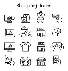 shopping on line icon set in thin line style vector image