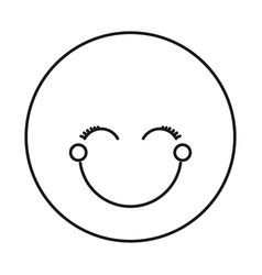 silhouette happy face female emoticon with eyes vector image