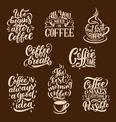 Steaming coffee drink lettering vector