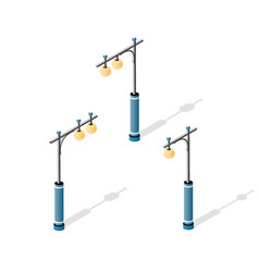 streetlight set with lanterns and urban lighting vector image