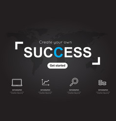 Success icons with world black map for business vector