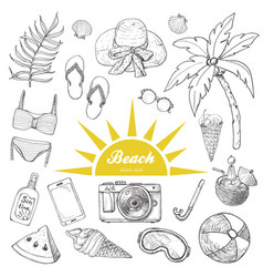 summer set of doodle hand drawn objects isolated vector image