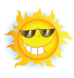 Sun Cartoon Mascot Character With Sunglasses vector image