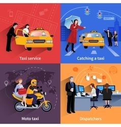 Taxi Service 2x2 Banners Set vector