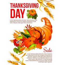 Thanksgiving sale banner template with cornucopia vector