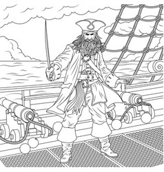 the evil captain of pirates vector image