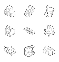 Toys for kids icons set outline style vector