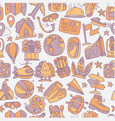 travel and summer seamless pattern journey and vector image