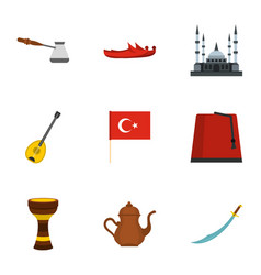 Turkey stuff icons set flat style vector