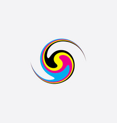 Twisted distorted ink cmyk print icon logo vector