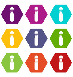 usb flash drive icon set color hexahedron vector image