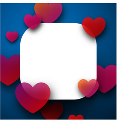 valentine s square card with hearts vector image