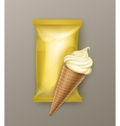 Vanilla Banana Ice Cream Waffle Cone with Foil vector image