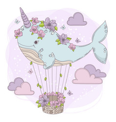 Whale balloon birthday party animal vector