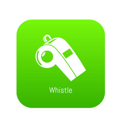 Whistle icon green vector