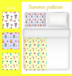 white blank and summer bed linen set vector image