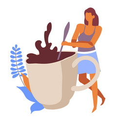 Woman mixing coffee beverage in cup decorative vector
