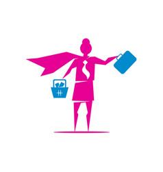 Woman power business mom logo icon symbol vector