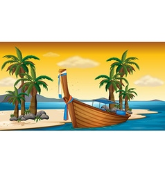 Wooden boat on shore vector