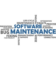word cloud software maintenance vector image