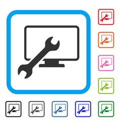 Wrench configure desktop framed icon vector
