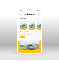 Yellow online restaurant ui ux gui screen for vector