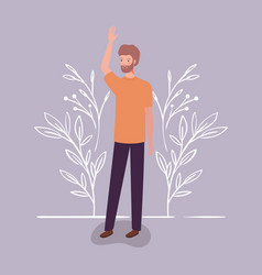 Young and casual man with beard character vector