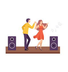 young man and woman dancing together at party vector image