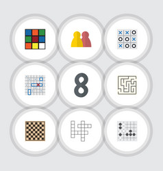 Flat icon games set of people cube xo and other vector