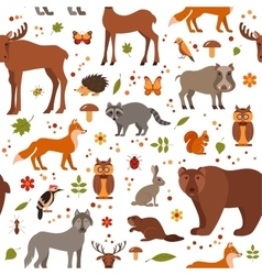 Flat style forest animals seamless pattern vector