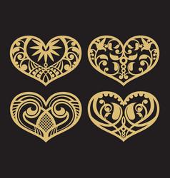 lacy hearts paper shapes love symbols vector image
