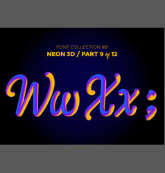 neon 3d typeset with rounded shapes font set vector image vector image