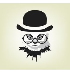 cat in the hat and glasses vector image
